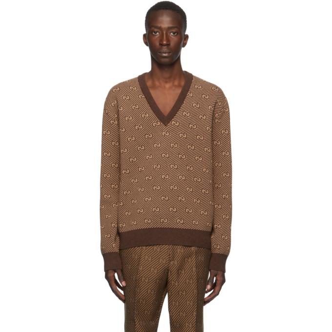 Gucci 棕色 GG 条纹提花 V 领毛衣