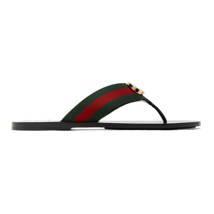 Gucci Red And Green Kika Thong Sandals
