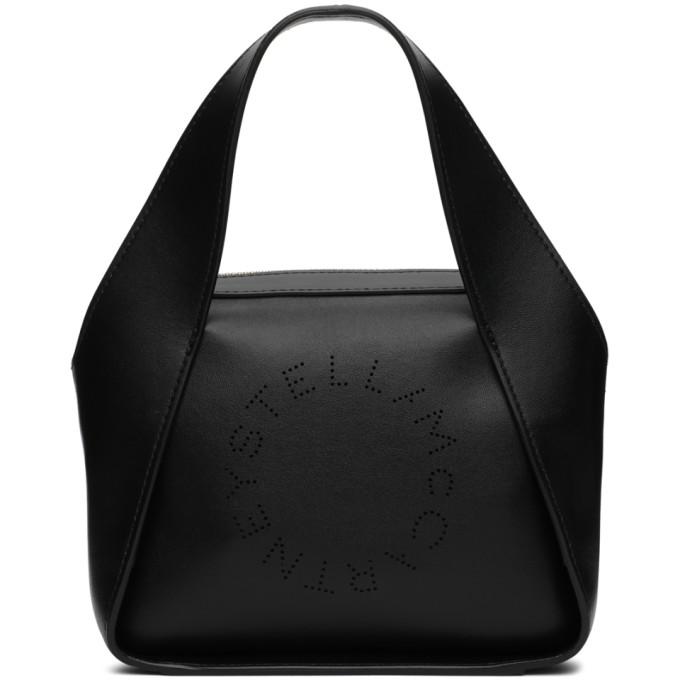 Stella Mccartney Black Stella Logo Perforated Faux Leather Cross Body Bag In 1000 Black
