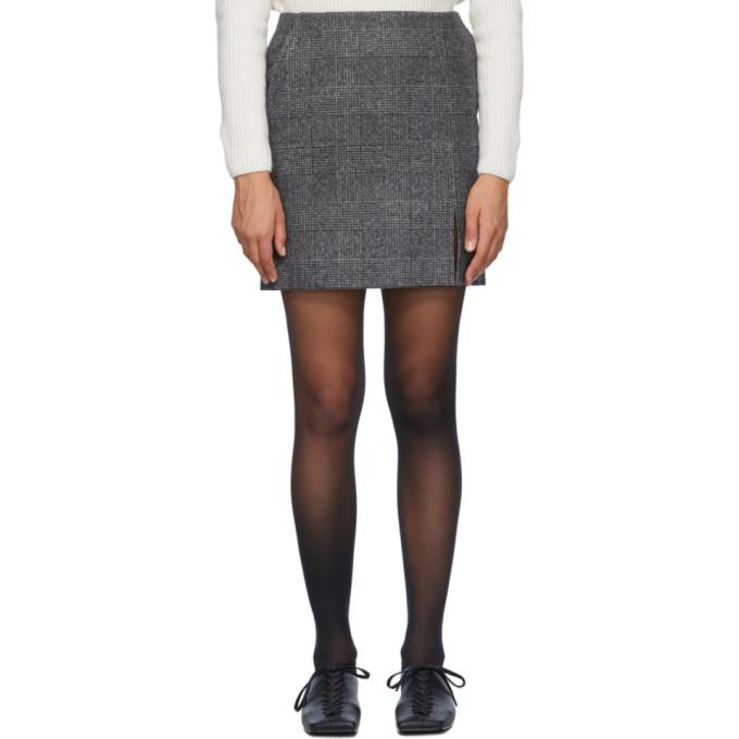 Nina Ricci Mini-jupe en laine grise Slit