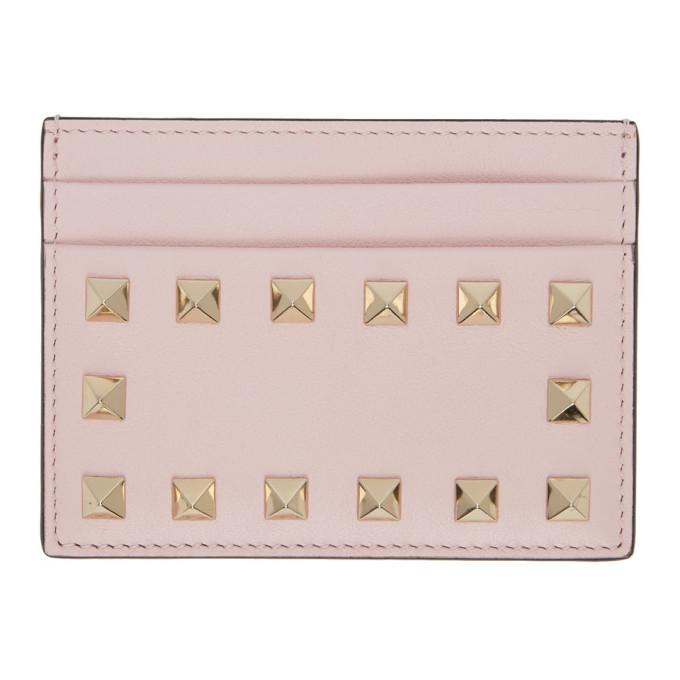 Valentino Garavani Valentino Pink  Rockstud Card Holder In 16q Pinkqua
