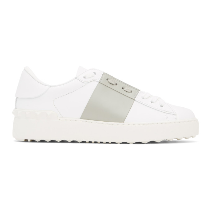 Valentino VALENTINO WHITE AND GREY VALENTINO GARAVANI ROCKSTUD OPEN SNEAKERS