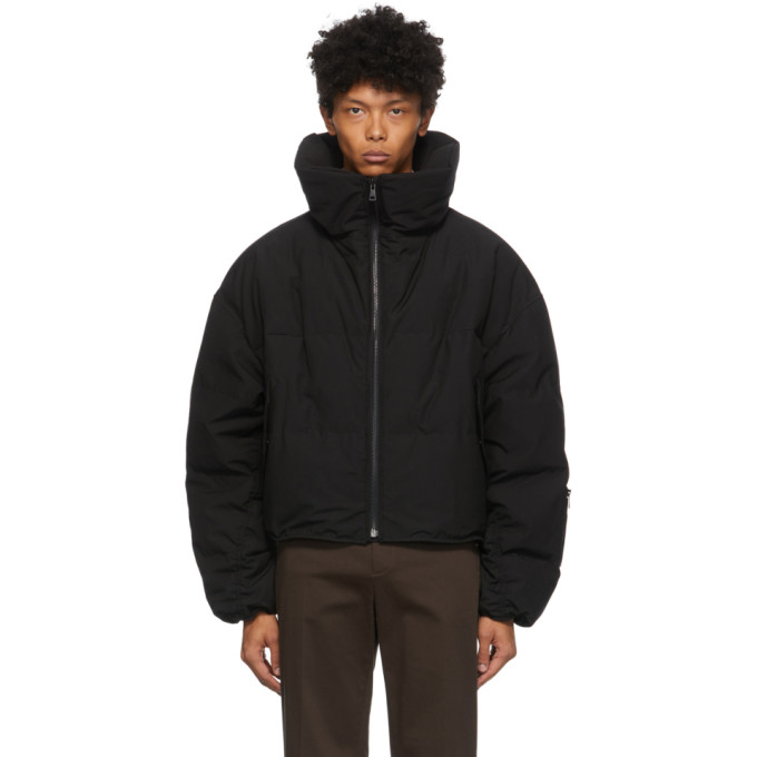System System Black Down High Neck Puffer Jacket