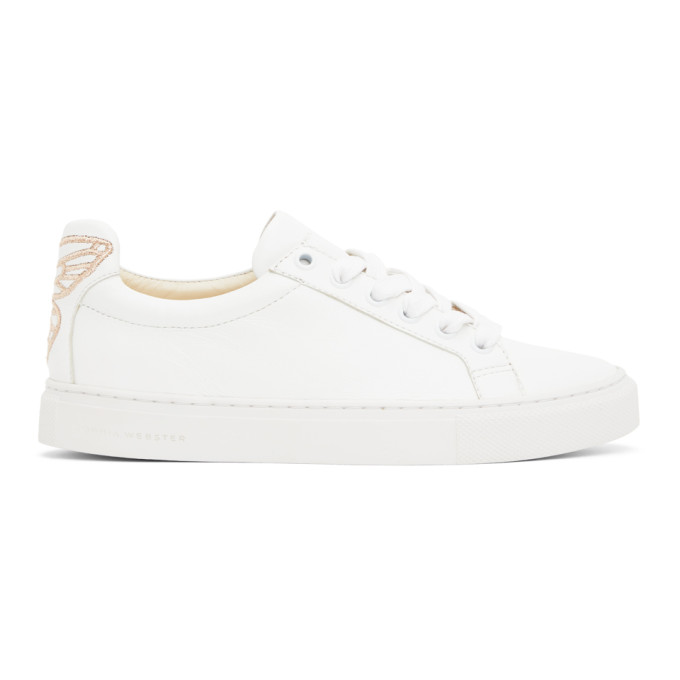 Sophia Webster SOPHIA WEBSTER WHITE AND PINK BUTTERFLY SNEAKERS