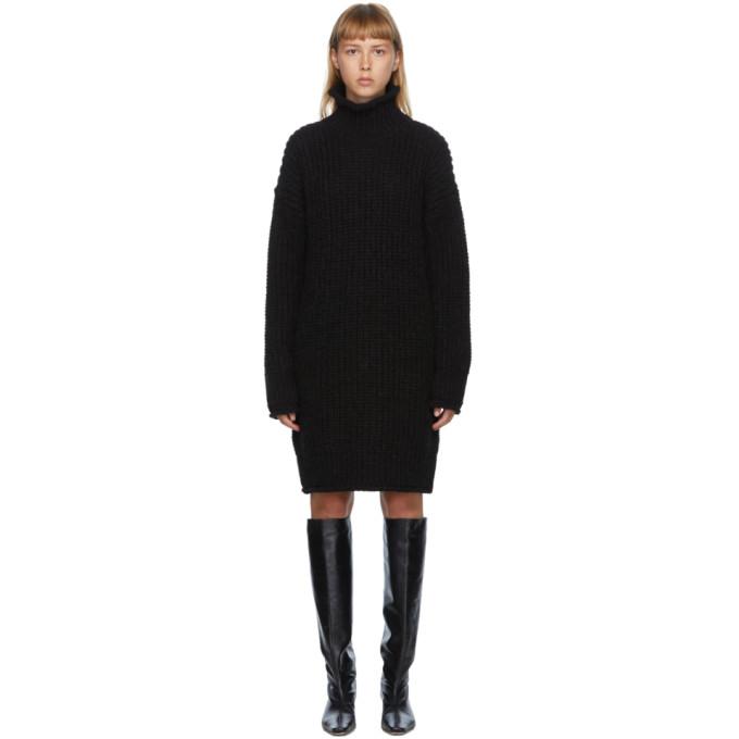 DRAE Robe col roule en alpaga noire Pullover