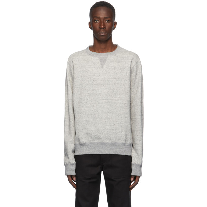 Naked and Famous Denim Pull a col ras du cou gris Heavyweight Terry