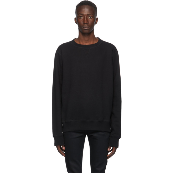 Naked and Famous Denim Pull a col ras du cou noir Heavyweight Terry