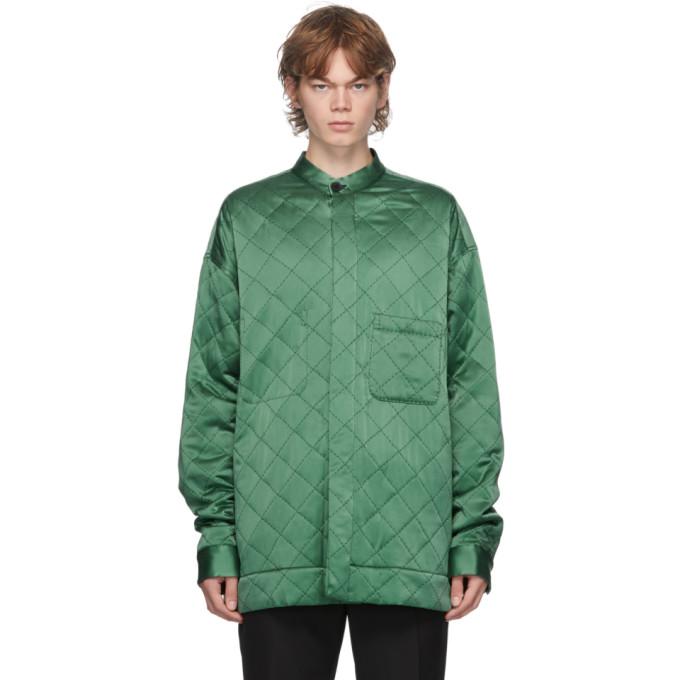 Haider Ackermann Haider Ackermann Green Quilted Oversized Shirt Jacket