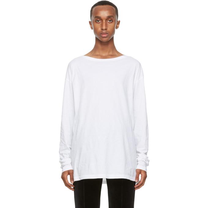 Haider Ackermann T-shirt a manches longues en coton blanc