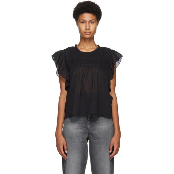 Etoile Isabel Marant Cottons ISABEL MARANT ETOILE BLACK LAYONA BLOUSE