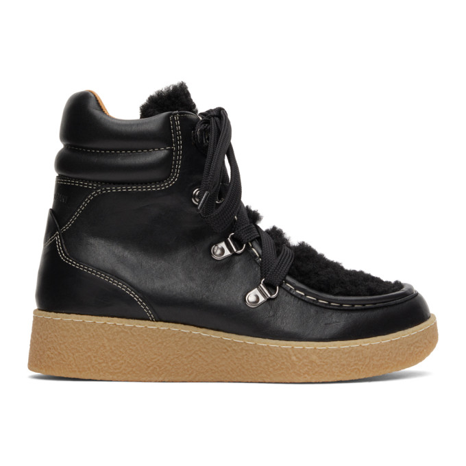 Isabel Marant Shoes ISABEL MARANT BLACK SHEARLING ALPICA ANKLE BOOTS