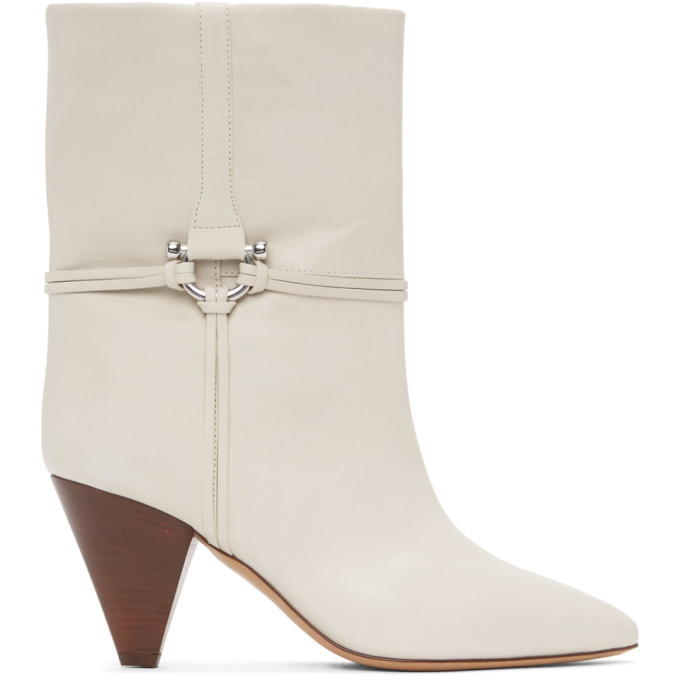 Isabel Marant Off-White Leather Lilet Ankle Boots