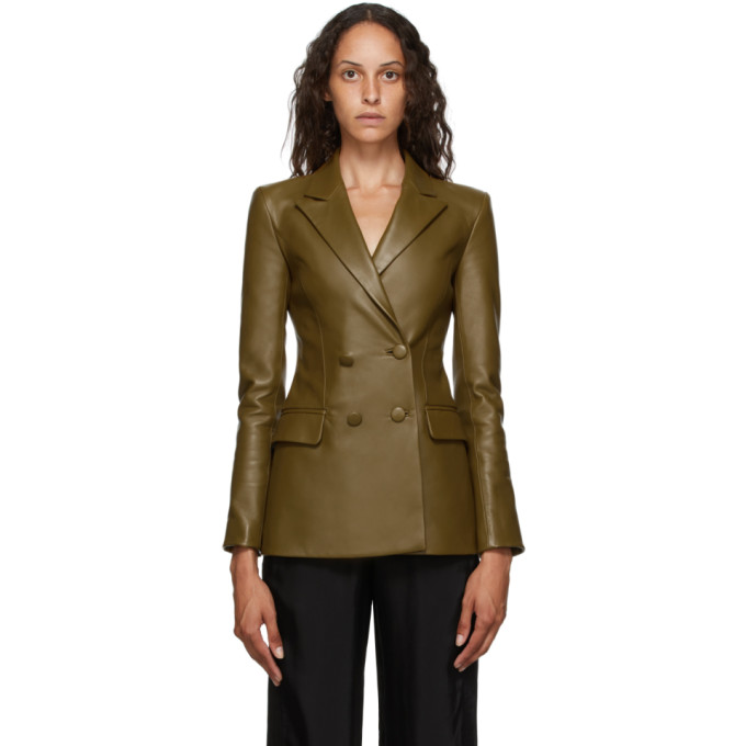 Off-White Off-White Khaki Leather Double Breasted Jacket