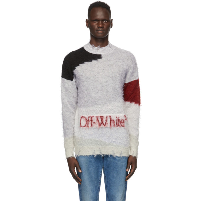 Off-white Mohair Blend Sweater In 0825 Gryred