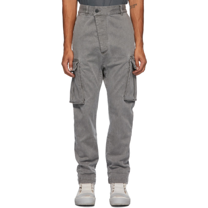 11 by Boris Bidjan Saberi Grey Denim Used Cargo Pants 202610M18802705