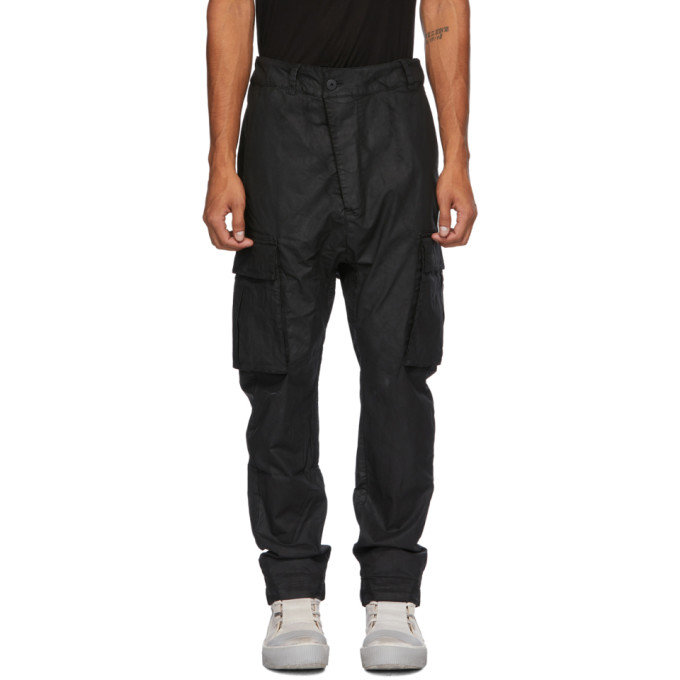 11 by Boris Bidjan Saberi Black Coated Cotton Cargo Pants 202610M18802803