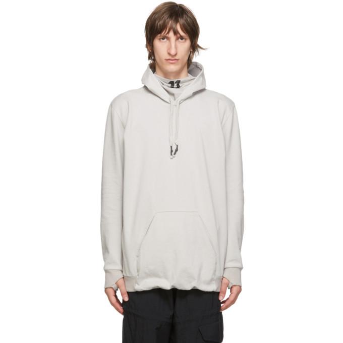 11 by Boris Bidjan Saberi Grey Embroidered Logo Hoodie 202610M20201105