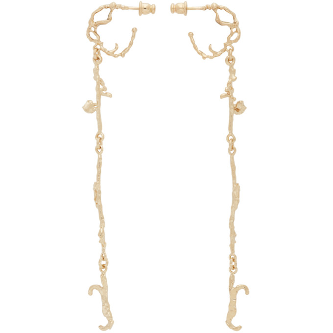 Lemaire LEMAIRE GOLD SHORT TWIG CREOLE EARRINGS