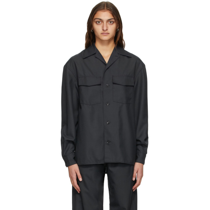 Lemaire LEMAIRE GREY CONVERTIBLE COLLAR SHIRT