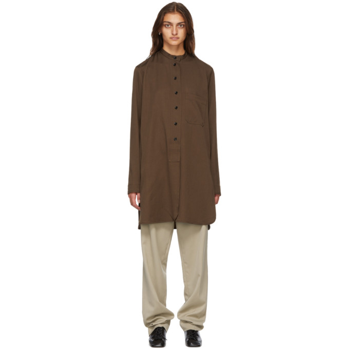 Lemaire Wools LEMAIRE BROWN WOOL LONG SHIRT