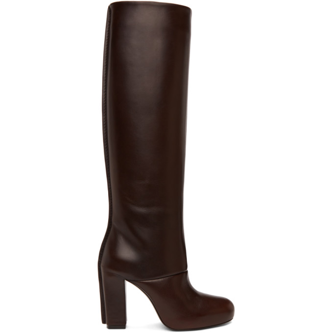 Lemaire LEMAIRE BROWN LEATHER HEELED TALL BOOTS