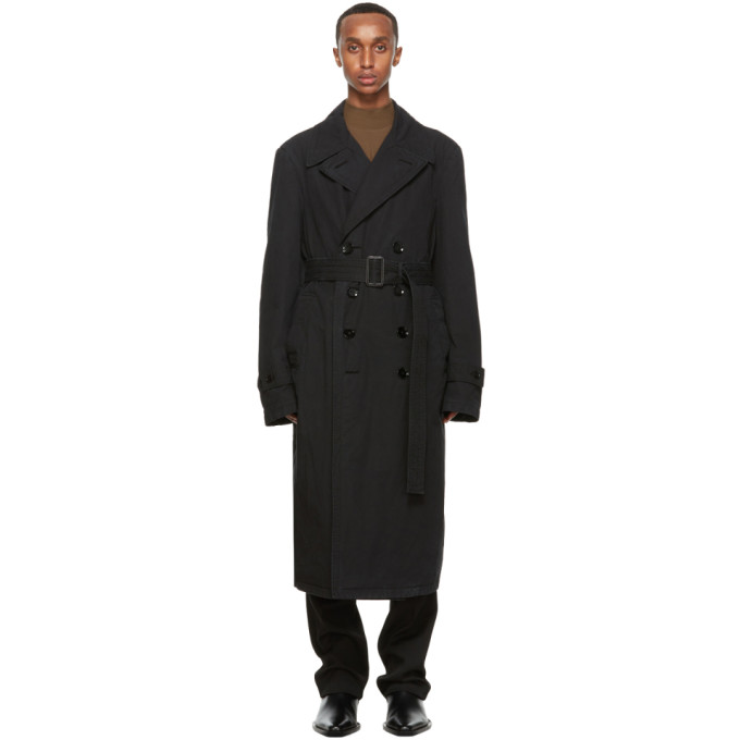 LEMAIRE LEMAIRE BLACK GARMENT-DYED TRENCH COAT