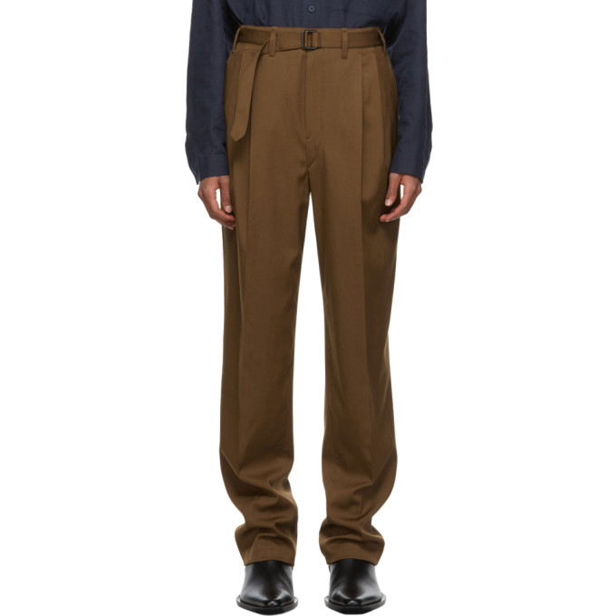 Lemaire Wools LEMAIRE BROWN WOOL BELTED PLEAT TROUSERS
