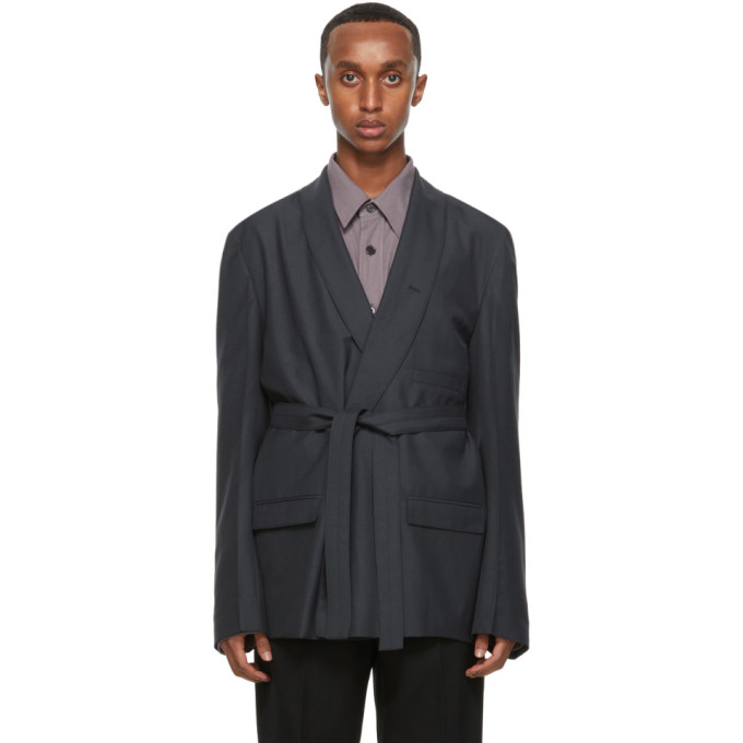 Lemaire Silks LEMAIRE GREY WOOL DOUBLE-BREASTED BELTED BLAZER