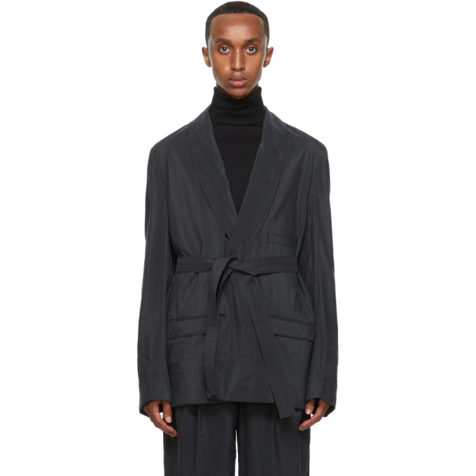 Lemaire Silks LEMAIRE GREY SILK DOUBLE-BREASTED BELTED BLAZER