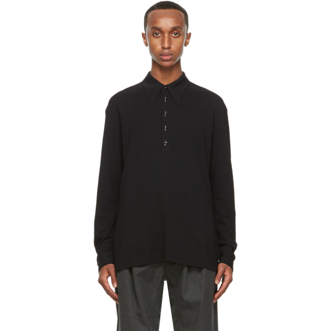 Lemaire LEMAIRE BLACK CREPE JERSEY LONG SLEEVE POLO