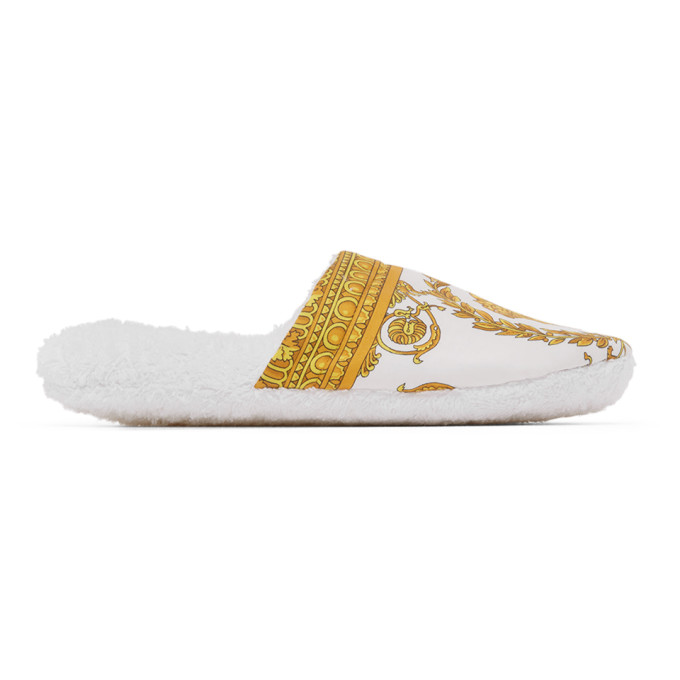 Versace Women's Barocco Cotton Slippers In Z4001 White