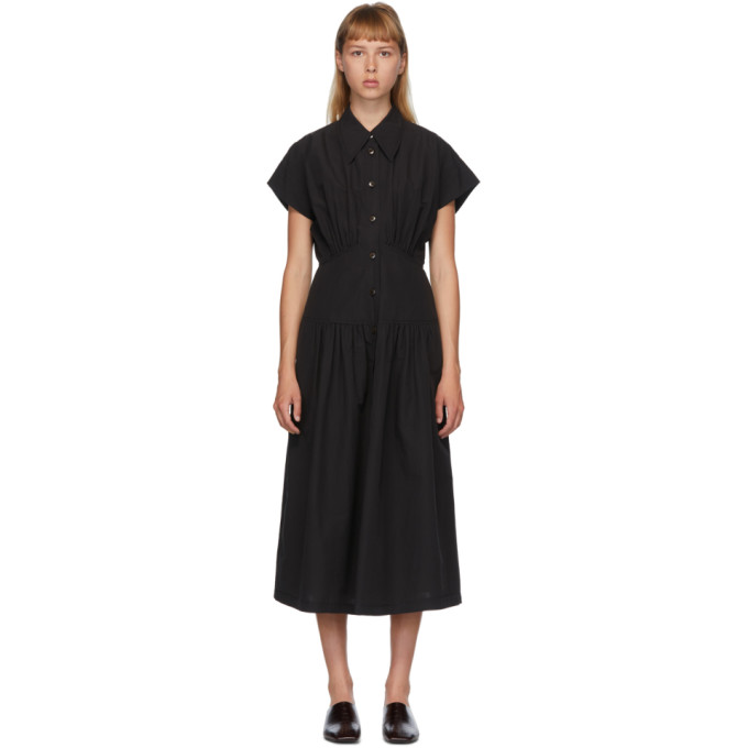 LOW CLASSIC Robe noire Waist Shirring