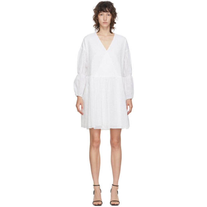 Edit Robe a basques blanche Tiered Sleeve