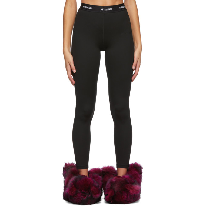 Vetements Leggings Black Long Logo Leggings