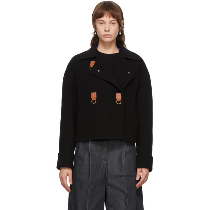 Loewe Loewe Black Wool and Cashmere Cropped Jacket
