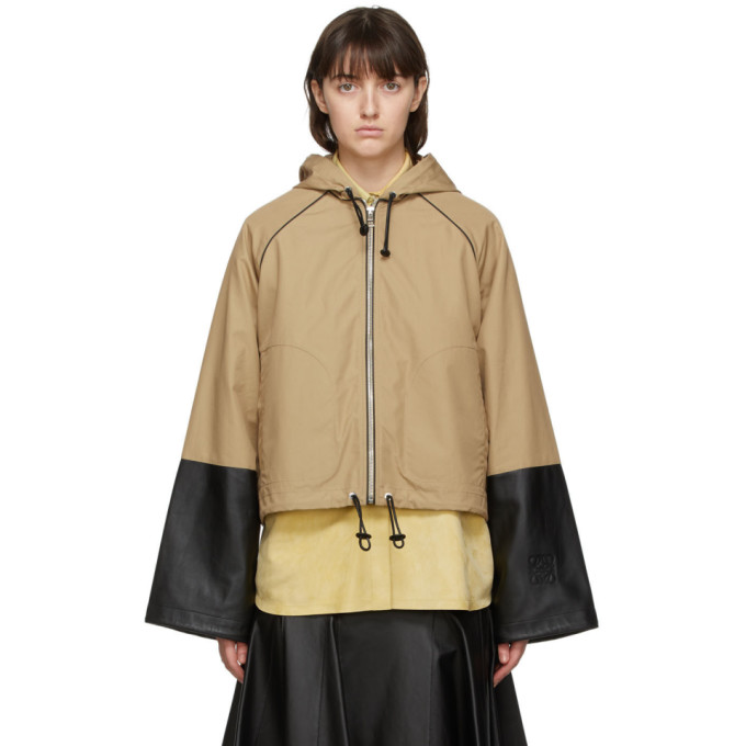 Loewe Loewe Tan Cotton and Nappa Hooded Jacket