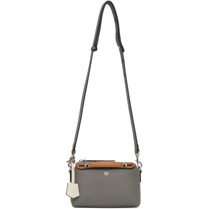 Fendi Leathers FENDI GREY AND BROWN MINI BY THE WAY BOSTON BAG