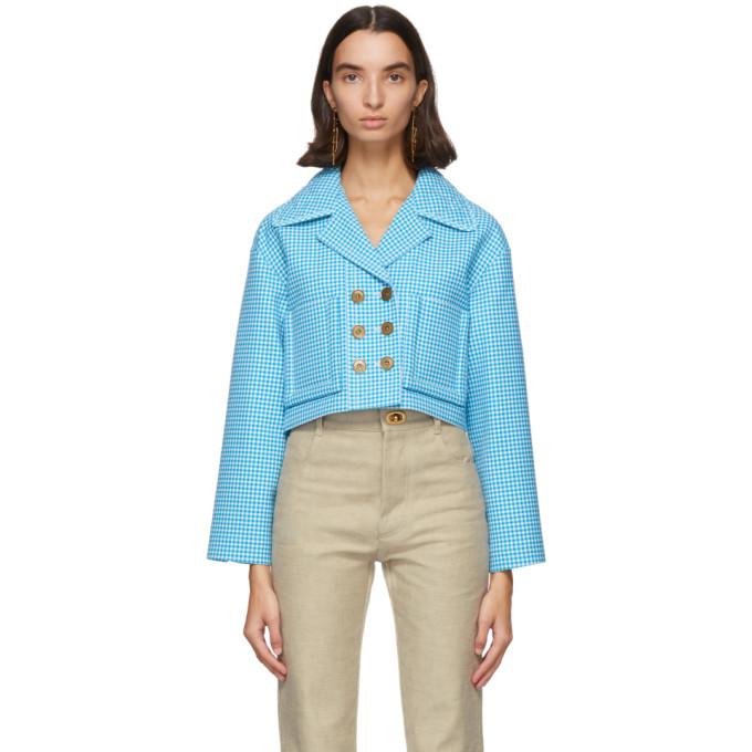 Fendi Fendi Blue and White Wool Vichy Jacket