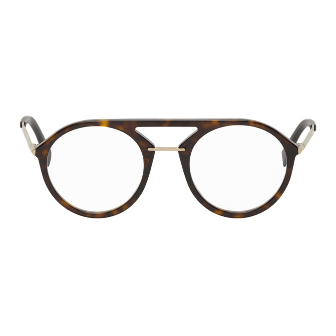 Fendi Tortoiseshell Round Aviator Glasses  - buy with discount