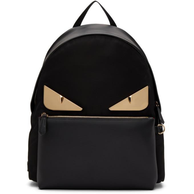 Fendi ブラック レザー Bag Bug バックパック