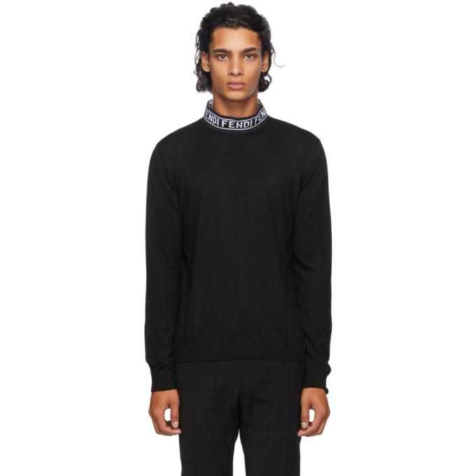 Fendi ブラック ウール モック ネック セーター