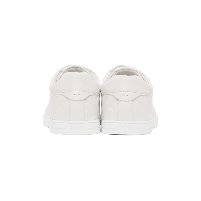FENDI Leathers WHITE LEATHER 'FOREVER FENDI' SNEAKERS