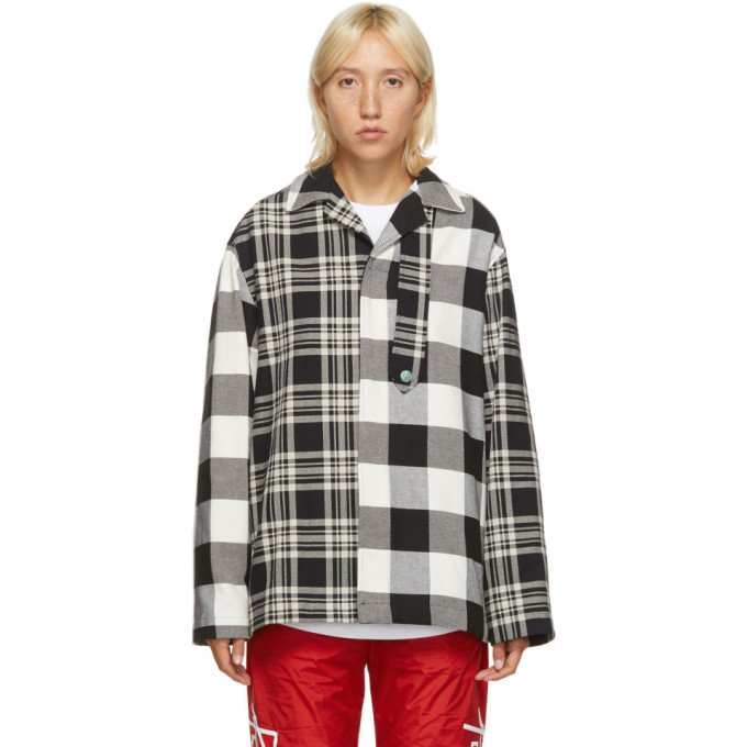 Palm Angels Palm Angels Black and White Patchwork Jacket