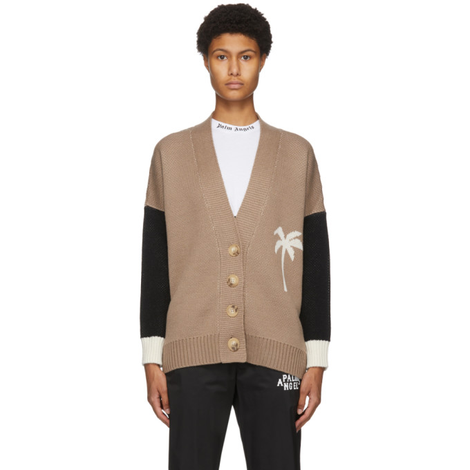 Palm Angels Palm Tree Colour-block Cardigan In Brown/white