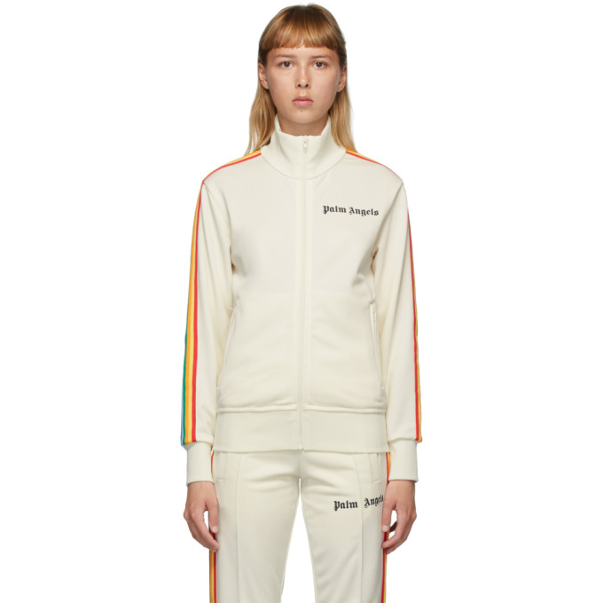Palm Angels Rainbow Track Jacket In Off Wht/mul