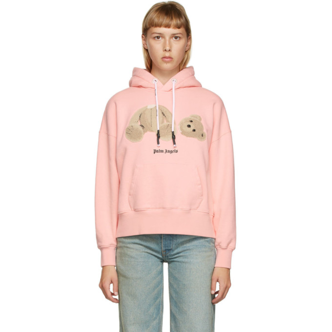 Palm Angels Bear Cotton Jersey Hoodie In Pink/brown