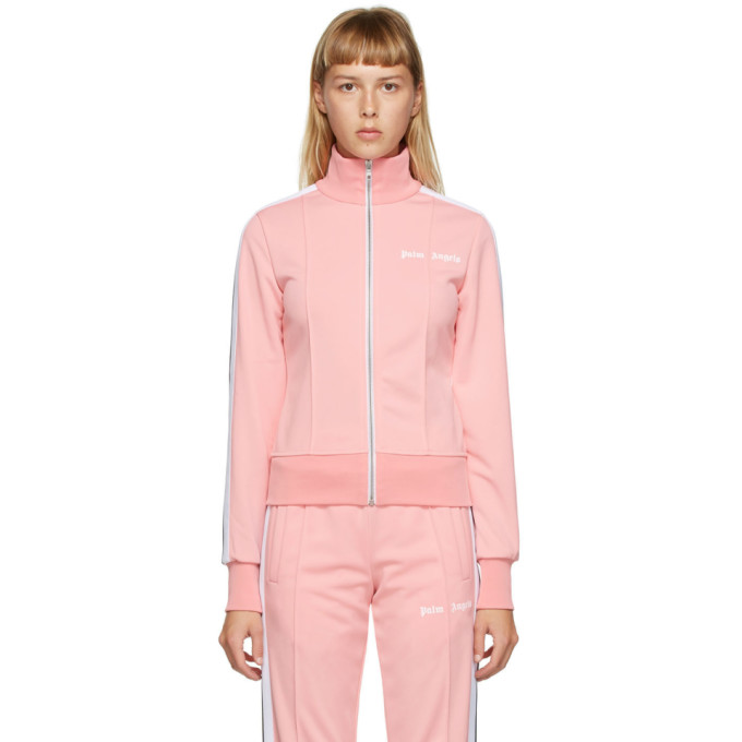 Palm Angels Logo Print Zip-up Jacket In Pink/white