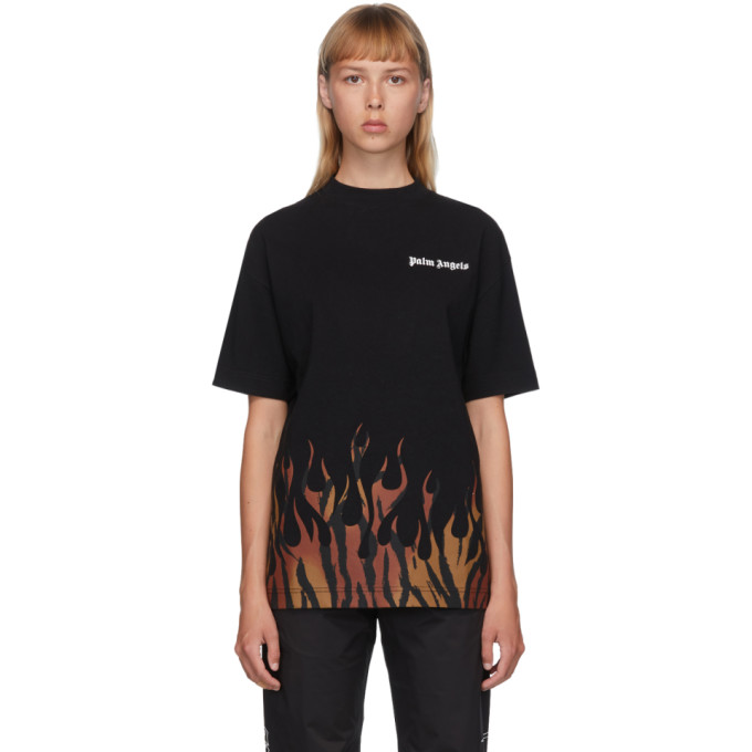 Palm Angels Tiger Flames T-shirt In Black/orang