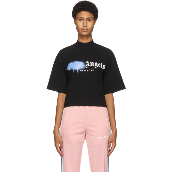 Palm Angels Ny Sprayed Logo Tee Black Light Blue In Blk/blue