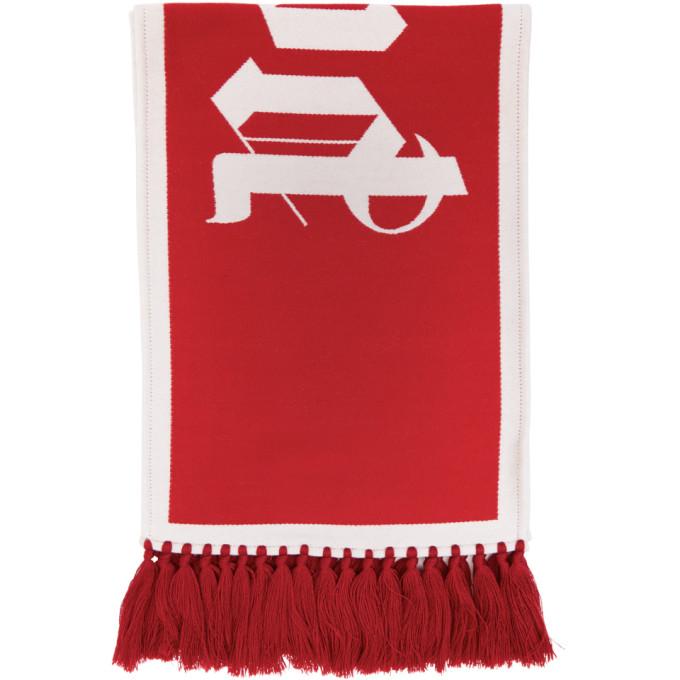 Palm Angels Foulard a logo en maille rouge